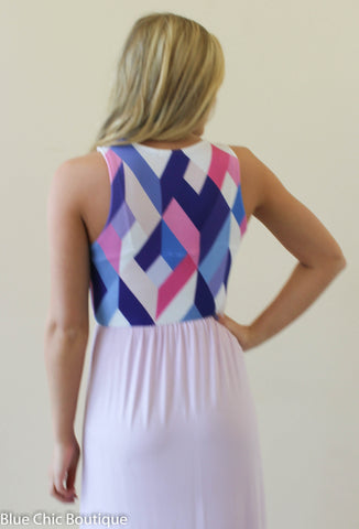 Geometric Print Maxi Dress - Lavender - Blue Chic Boutique  - 7