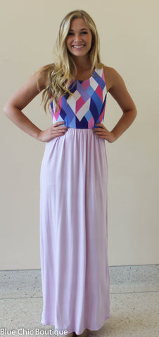 Geometric Print Maxi Dress - Lavender - Blue Chic Boutique  - 1