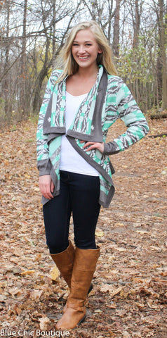 Cool Weather Cardigan - Gray and Mint - Blue Chic Boutique  - 1