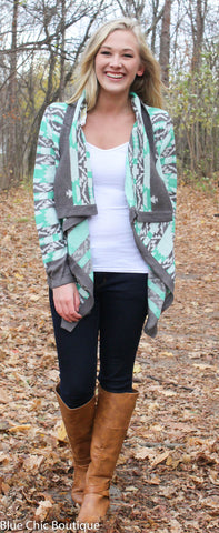 Cool Weather Cardigan - Gray and Mint - Blue Chic Boutique  - 8