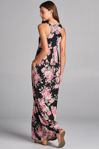 Garden Party Maxi Dress - Black and Pink