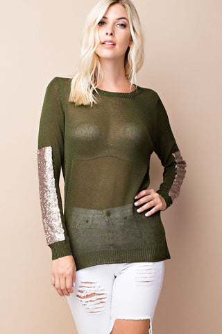 Sparkle and Shine Sequined Sleeved Sweater - Olive - Blue Chic Boutique  - 2