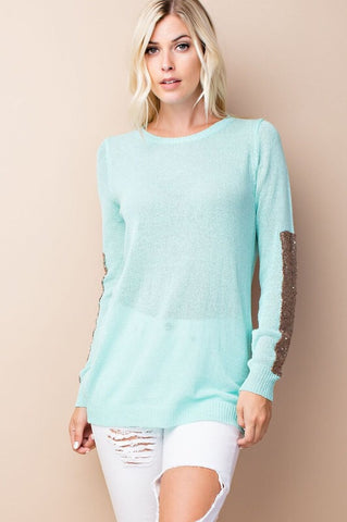 Sparkle and Shine Sequined Sleeved Sweater - Mint - Blue Chic Boutique  - 2