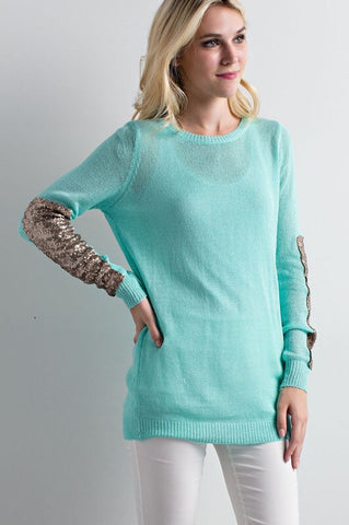 Sparkle and Shine Sequined Sleeved Sweater - Mint - Blue Chic Boutique  - 4