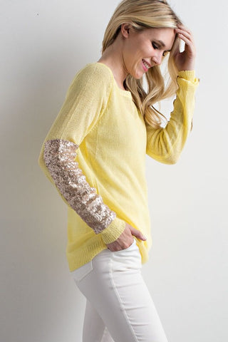 Sparkle and Shine Sequined Sleeved Sweater - Yellow - Blue Chic Boutique  - 3