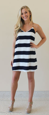 Striped Racer Back Dress - Navy - Blue Chic Boutique  - 4