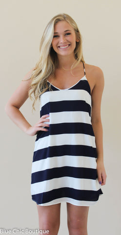 Striped Racer Back Dress - Navy - Blue Chic Boutique  - 1