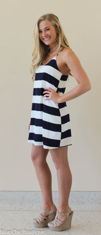 Striped Racer Back Dress - Navy - Blue Chic Boutique  - 3