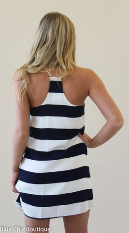 Striped Racer Back Dress - Navy - Blue Chic Boutique  - 2