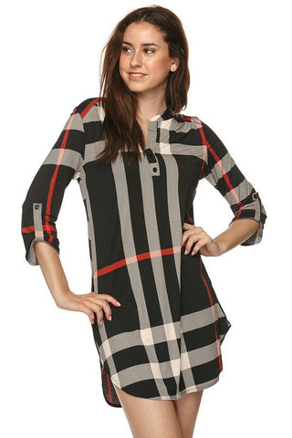 Plaid V-Neck Dress - Black - Blue Chic Boutique  - 1
