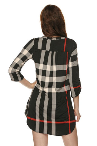 Plaid V-Neck Dress - Black - Blue Chic Boutique  - 2