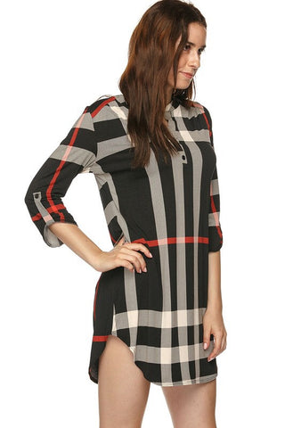 Plaid V-Neck Dress - Black - Blue Chic Boutique  - 3