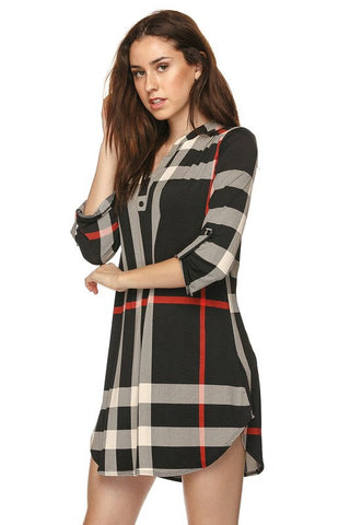 Plaid V-Neck Dress - Black - Blue Chic Boutique  - 4