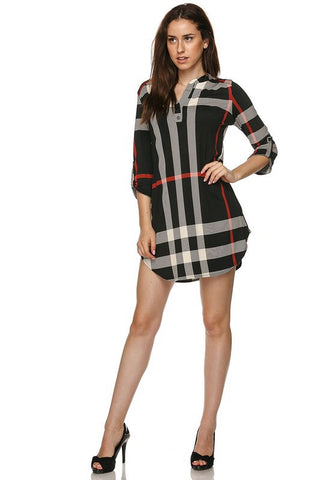 Plaid V-Neck Dress - Black - Blue Chic Boutique  - 6