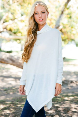 Off White Poncho - Blue Chic Boutique  - 1