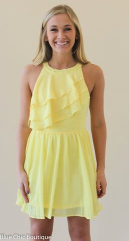 Ruffle Dress - Yellow - Blue Chic Boutique  - 1