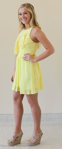 Ruffle Dress - Yellow - Blue Chic Boutique  - 4