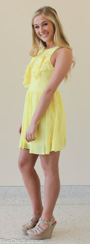 Ruffle Dress - Yellow - Blue Chic Boutique  - 5