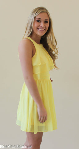 Ruffle Dress - Yellow - Blue Chic Boutique  - 3
