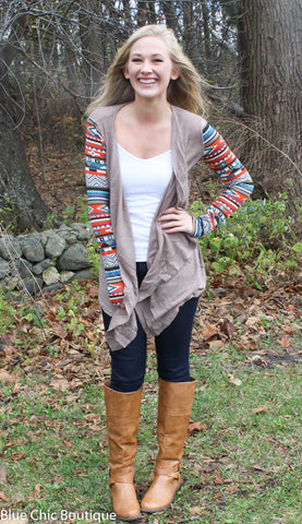 Contrast Sleeve Cardigan - Taupe - Blue Chic Boutique  - 2