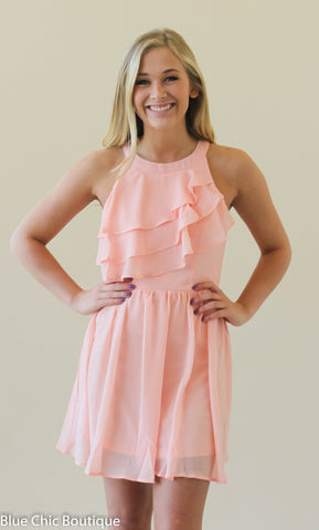 Ruffle Dress - Blush - Blue Chic Boutique  - 2