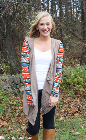 Contrast Sleeve Cardigan - Taupe - Blue Chic Boutique  - 1