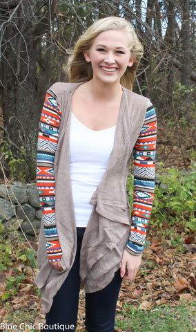 Contrast Sleeve Cardigan - Taupe - Blue Chic Boutique  - 3