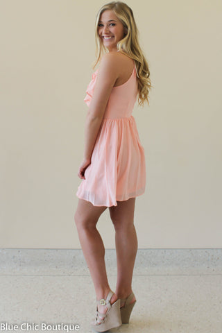 Ruffle Dress - Blush - Blue Chic Boutique  - 8