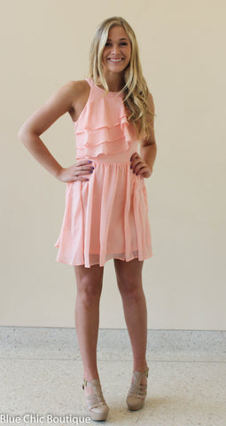 Ruffle Dress - Blush - Blue Chic Boutique  - 9