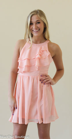 Ruffle Dress - Blush - Blue Chic Boutique  - 1