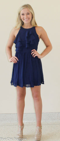 Ruffle Dress - Navy - Blue Chic Boutique  - 2
