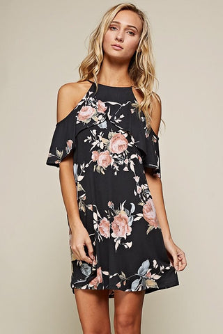 Cold Shoulder Dress - Black Floral