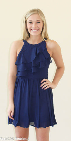 Ruffle Dress - Navy - Blue Chic Boutique  - 1