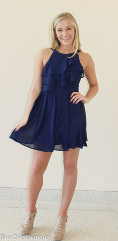 Ruffle Dress - Navy - Blue Chic Boutique  - 6