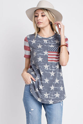Vintage American Flag Short Sleeve Top