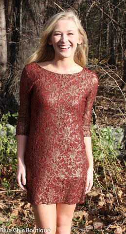 Metallic Lace Dress - Burgundy - Blue Chic Boutique  - 1