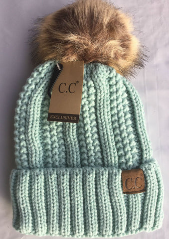C.C. Knit Beanie with Faux Fur Pom Pom - Blue Chic Boutique  - 3