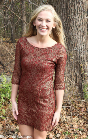 Metallic Lace Dress - Burgundy - Blue Chic Boutique  - 7