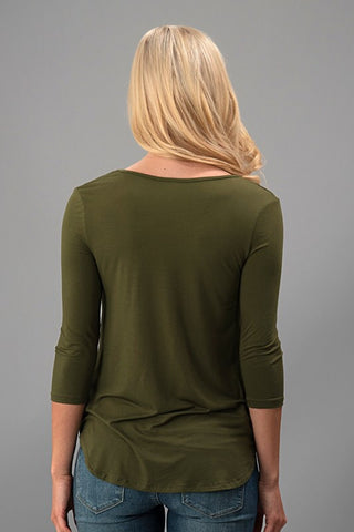 Weekend Get Together 3/4 Sleeve Top - Olive - Blue Chic Boutique  - 3