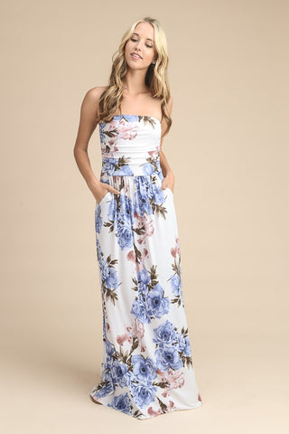 Summer Stunner Strapless Maxi Dress - Ivory and Blue Floral