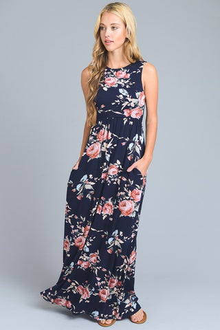 Summer State of Mind Floral Maxi Dress - Navy