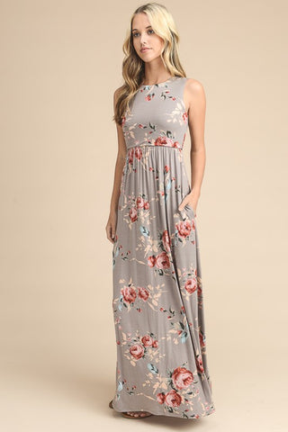 Summer State of Mind Floral Maxi Dress - Taupe