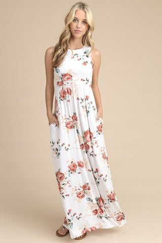 Summer State of Mind Floral Maxi Dress - Ivory