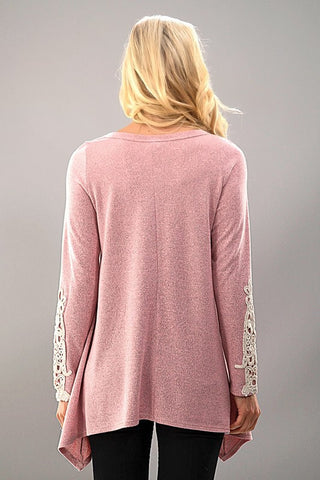 Lace Sleeve Knit Tunic - Pink - Blue Chic Boutique  - 3