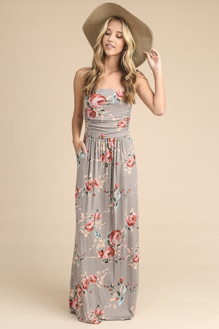 Summer Melody Floral Maxi Dress - Taupe