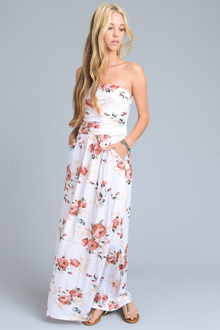 Summer Melody Floral Maxi Dress - Ivory
