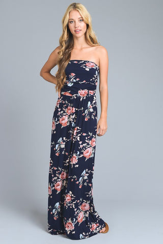 Summer Melody Floral Maxi Dress - Navy