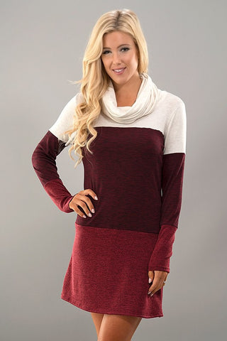 Cowl Neck Color Block Dress - White and Burgundy - Blue Chic Boutique  - 1
