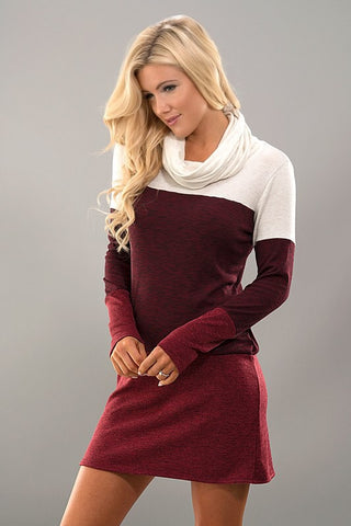 Cowl Neck Color Block Dress - White and Burgundy - Blue Chic Boutique  - 2