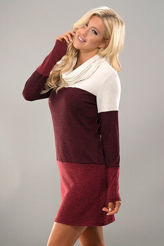 Cowl Neck Color Block Dress - White and Burgundy - Blue Chic Boutique  - 3